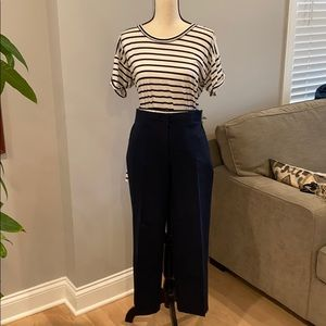 J Crew Cropped Trousers. Navy Blue straight leg.